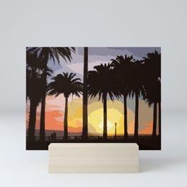 Sunset at Palisades Park Mini Art Print