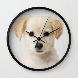 Golden Retriever Puppy - Colorful Wall Clock