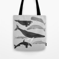 whales Tote Bags featuring whales by L Step