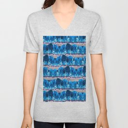 Blue Agate Geode Mountains Unisex V-Neck