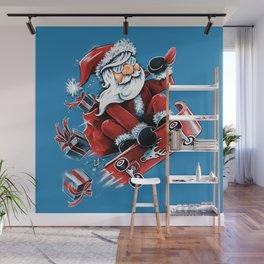 Santa Skateboarding Wall Mural