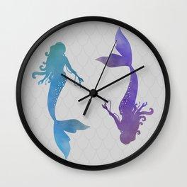 blue & purple mermaid Wall Clock