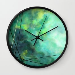 Crossed Green - Abstract Art Wall Clock