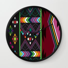 Aztec Central America Inspired Modern Geometric Design Wall Clock