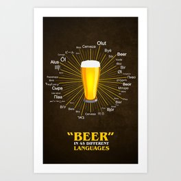"""""""Beer"""" in 45 different languages Art Print"""