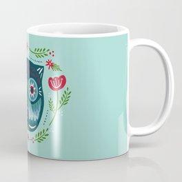 Merry & Bright Owl   Christmas Blue Coffee Mug