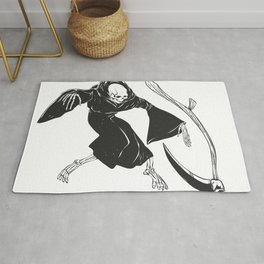 Grim reaper throwing sickle - black and white Rug
