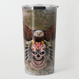 Indian Native Flaying Eagle Sugar Skull Travel Mug