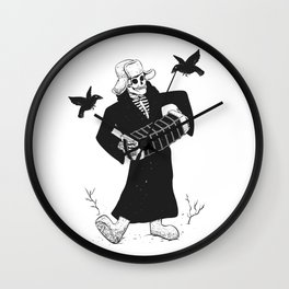 Grim reaper with accordion  - skull musician - black and white Wall Clock