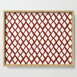 Rhombus White And Red Serving Tray
