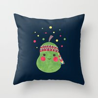 hippie Throw Pillows featuring Hippie Pear by haidishabrina