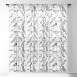 Black and white birds against white graphite artwork Sheer Curtain