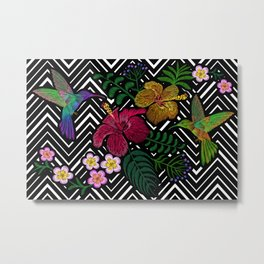 Hummingbird around flower plumeria hibiscus Frangipani exotic  Embroidery Metal Print