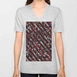 Red Striped Multicam Camo Pattern Camouflage Unisex V-Neck