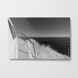 Sailing in the wind through the waves, Boat, Black and White photography #Society6 Metal Print