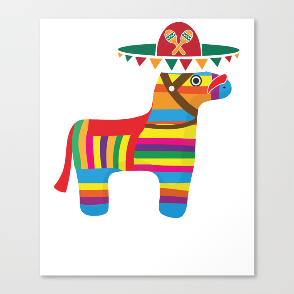 Pinata With Sombrero Mustache Cinco De Mayo Canvas Print by Teepsy CNV8927497