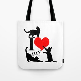 I Love My Cats - black red Tote Bag