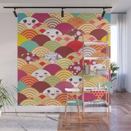 Kawaii Nature background with japanese sakura flower, wave pattern Wall Mural