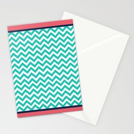 Turquoise Chevron Pink Border Geometric Design Stationery Cards