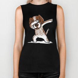 Dabbing German Shorthaired Pointer Dog Dab Dance Biker Tank