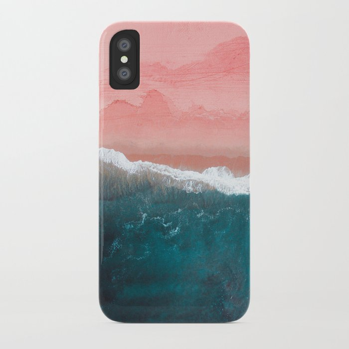 turquoise sea pastel beach ii iphone case
