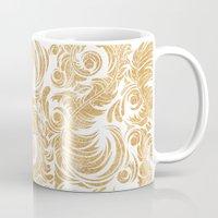 Gold Glitter Leaves Mug