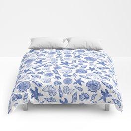 Blue Seashell Print Comforters