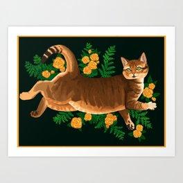 little cait & flowers & ferns Art Print