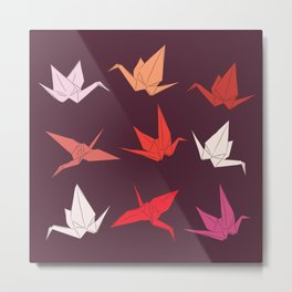 Japanese Origami paper cranes sketch, symbol of happiness, luck and longevity Metal Print