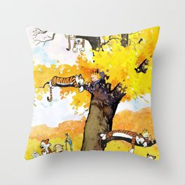 calvin hobbes all Throw Pillow