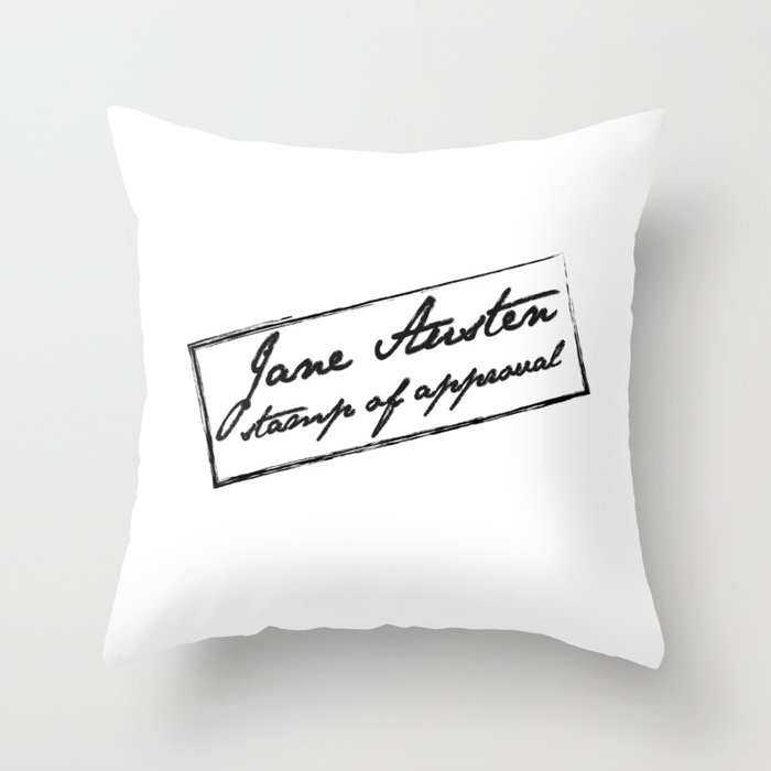 Jane Austen - Stamp of approval Throw Pillow