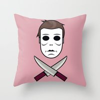 michael myers Throw Pillows featuring Myers Head by Laboratorio Bizzarro