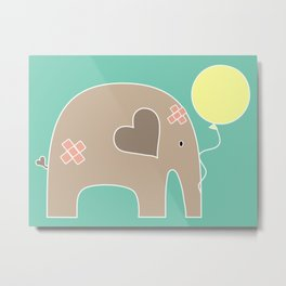 Get Well Soon Elephant Metal Print
