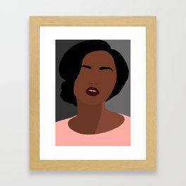 Mia - minimal, abstract portrait of an African American woman Framed Art Print