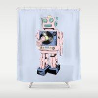 dj Shower Curtains featuring DJ Bot by Saoirse Mc Dermott