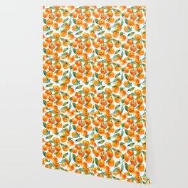 Mandarins With Leaves Wallpaper