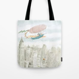 Dirigible over NY city Tote Bag