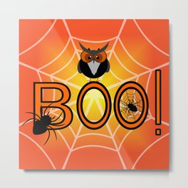 Boo, says the owl. It's Halloween! Metal Print