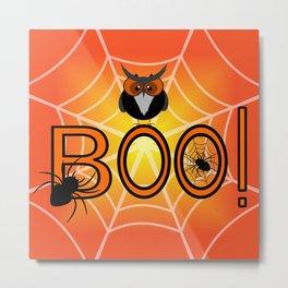 Boo, says the owl. It's Halloween! Metal Print