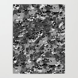 Silver Gray Popular Multi Camo Pattern Poster