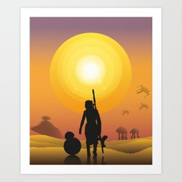 Walking in the desert Art Print