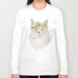 Boho cat portrait with flower crown Long Sleeve T-shirt