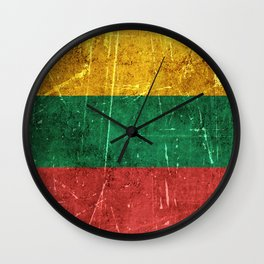 Vintage Aged and Scratched Lithuanian Flag Wall Clock