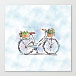 Spring Bicycle Watercolor with Flowers Canvas Print