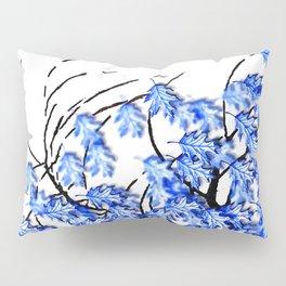 Oak Leaves Blue Pillow Sham
