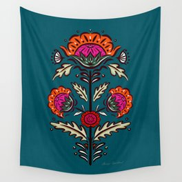 Spanish Blooms - Turquoise Wall Tapestry