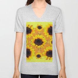 Decorative Golden Yellow  Black Sunflower patterns Unisex V-Neck