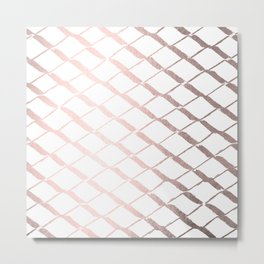Rose Gold Geometric Lattice Paradise Metal Print