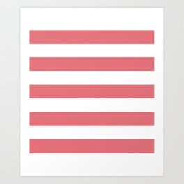 Candy pink - solid color - white stripes pattern Art Print