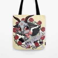 baphomet Tote Bags featuring Baphomet Cutie by Artetak